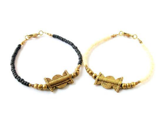 Bijoux tribaux africains laiton Sun & Moon Bracelet par xxxAZUxxx