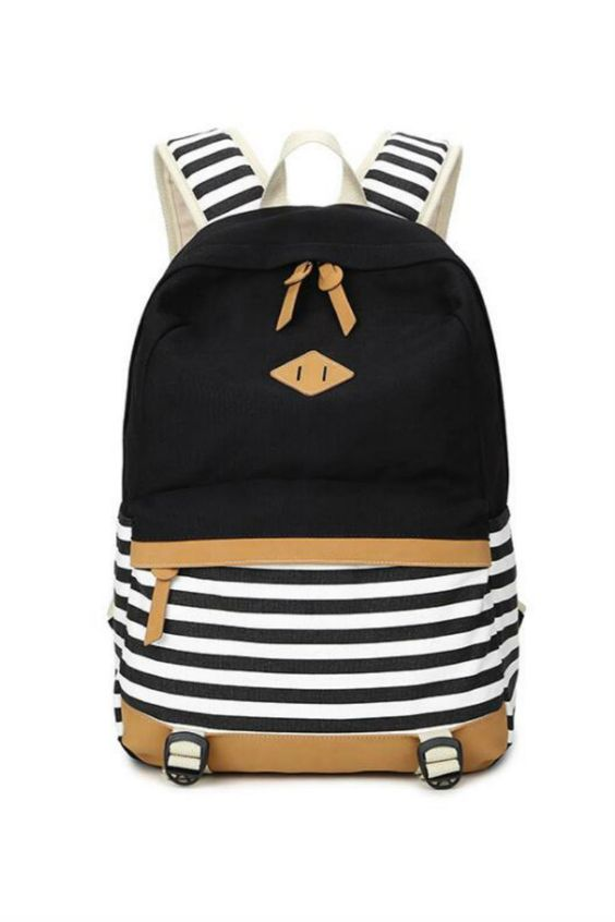 Black Striped College Canvas Backpack                                                                                                                                                      More:
