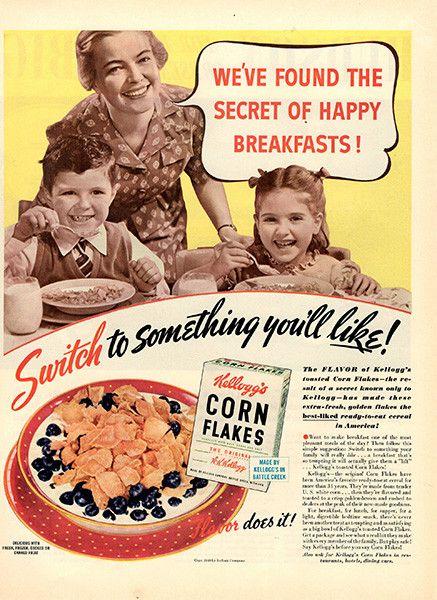 1940 Kellogg's Corn Flakes Cereal Original Print Ad