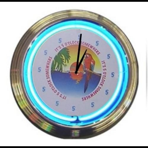 Neon Wall Clock 5 00 Somewhere Clock Wall Clock Wall
