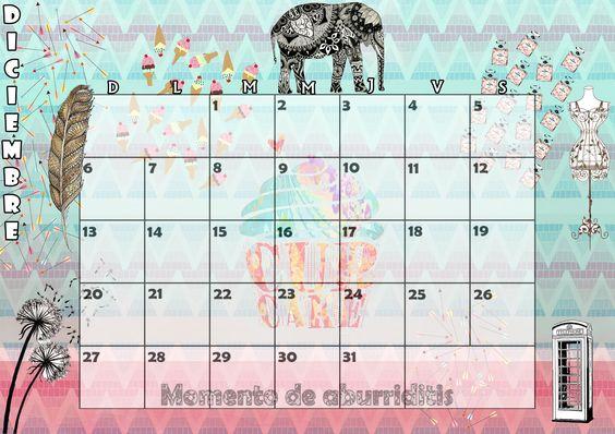 Calendario mensual 2015 - Diciembre