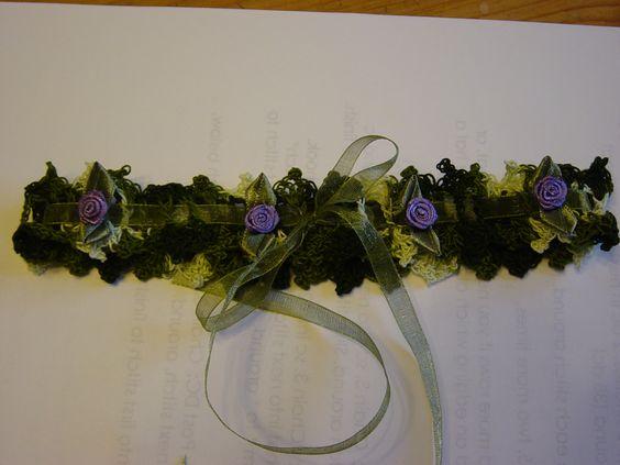 Crochet camo bridal garter! With purple flower accents.
