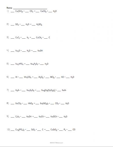 Chemical Bonds and Equations Physical Science Interactive - balancing equations worksheet template
