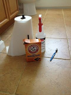 Miracle Grout Cleaner! Inside a spray bottle is a half and half solution of water and vinegar. Step 1: Sprinkle baking soda onto grout lines, Step 2: Spray vinegar solution on top. It is going to bubble and fizz which is exactly what you want. Step 3: Scrub with toothbrush, then sweep or mop.