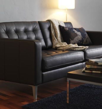 Leather Ikea Karlstad I Like The Floor Color And He Couch And Everything For The Basement