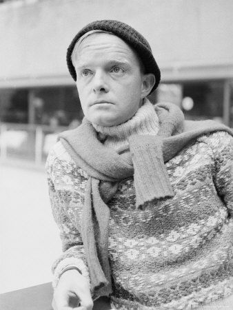 Look at all that knitwear, and inside-out fair isle?  Truman Capote at Rockefeller Ice Skating Rink by Alfred Eisenstaedt
