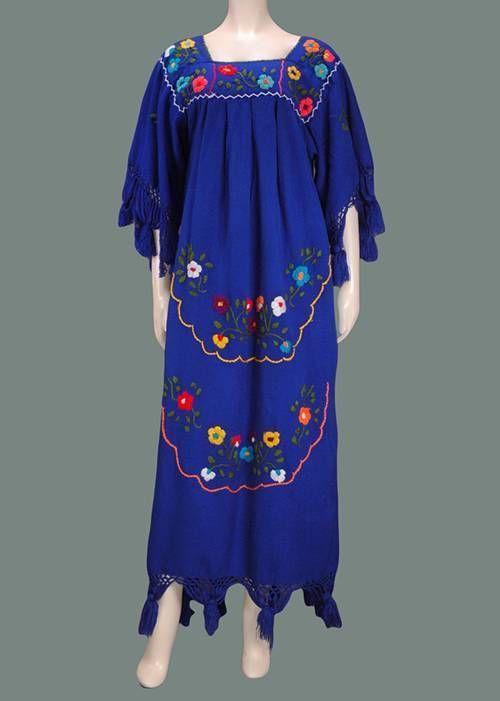 Rare Vintage 70's Mexican Boho Floral Embroidered Maxi Hippie Dress