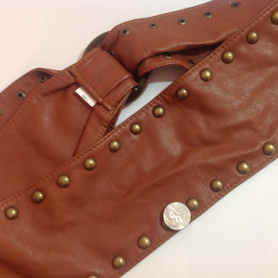 Vintage Extra Wide Brown & Bronze Studded Faux by JENSTARDESIGNS