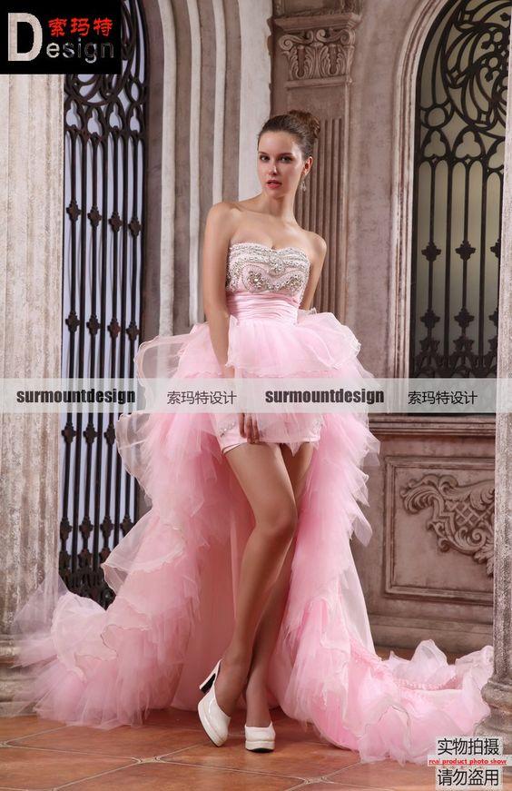 Surmount high-grade handmade front short and long back pink ...