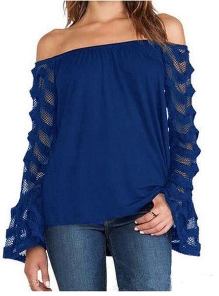 Strapless Off-shoulder Transparent Long Sleeves Lace Patchwork Blouse