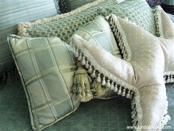 Sea green blue custom made pillows plaid Lee Jofa tassel star fish pillow