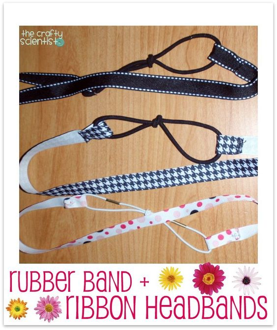 Rubber band ribbon headbands.