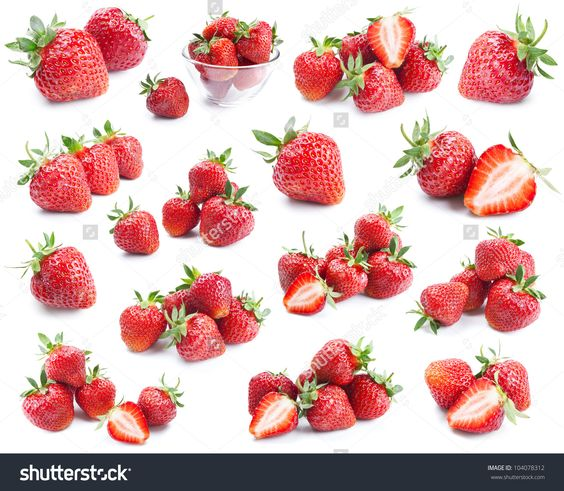 Strawberries Collection Isolated On White Background Stock Photo 104078312 : Shutterstock