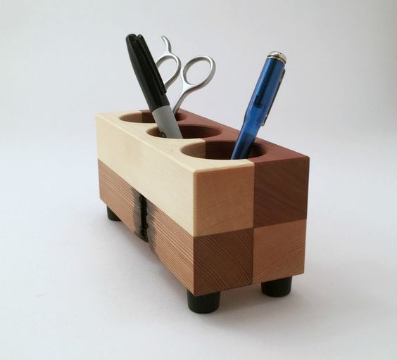 Recycled Wood Office Organizer Desktop Tool Holder - Andrew's Reclaimed. A lovely #organizer for the office, hold pens, pencils and more right where you need them. Made from recycled wood.