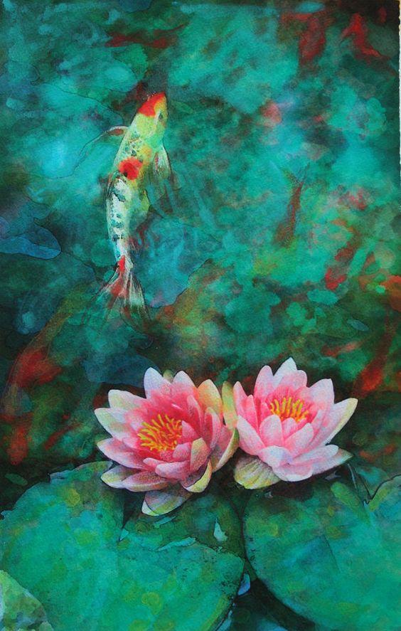Beach pool lotus and garden ponds on pinterest for Koi fish pond art