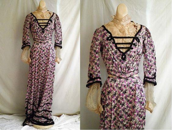 Edwardian Silk Antique Dress  C. by rue23vintage, $225.00