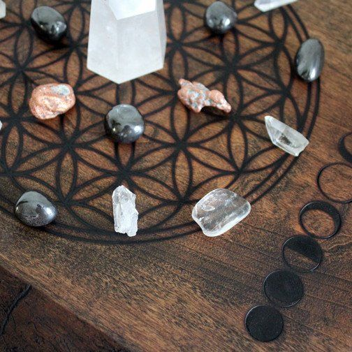 Premium Crystal Grid with Moon Phases