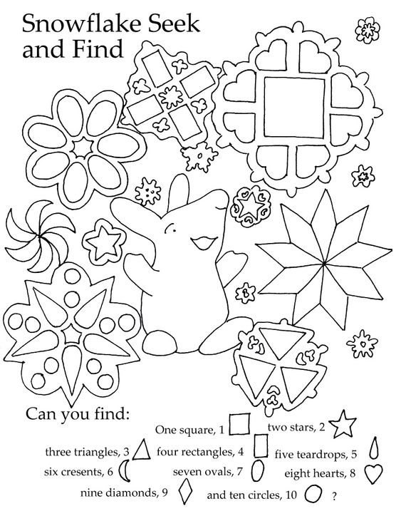 Free kids printable. Great seek and find for shapes and winter ...