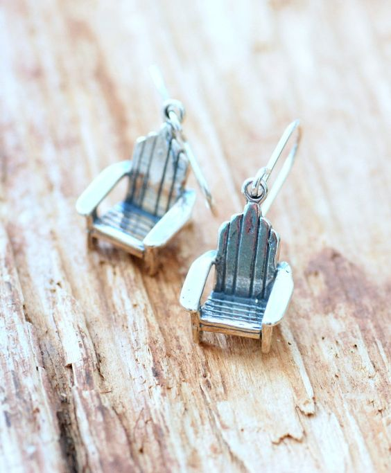 chair earrings. camper earrings, dock chair gift for camper, lakehouse, at the lake earrings