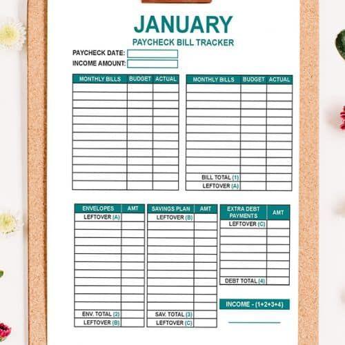 The Budget Mom Shop Budget Mom Budgeting Bill Tracker Printable