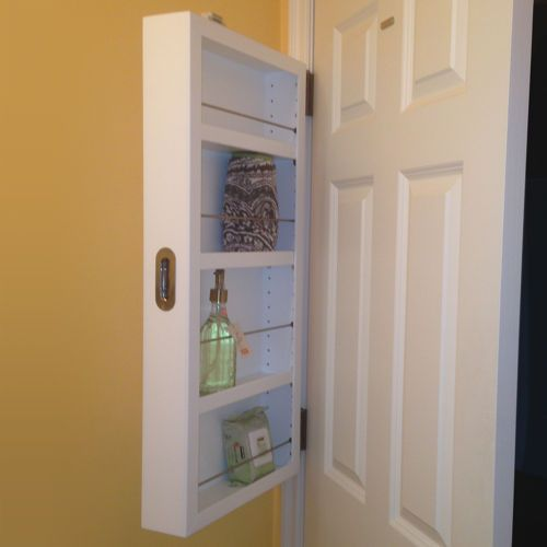Concealed Door Storage With Adjustable Shelves Perfect For A Spice Rack Inside A Pantry Door