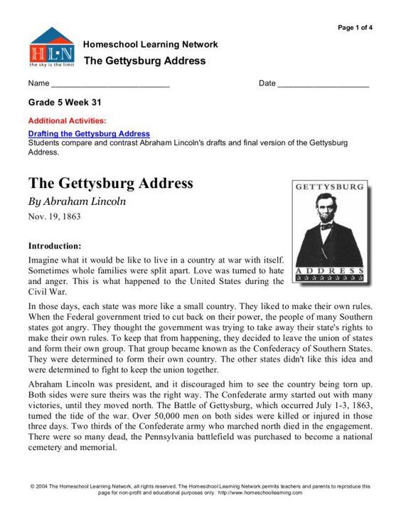 The Gettysburg Address 5th - 6th Grade Worksheet | Lesson Planet ...