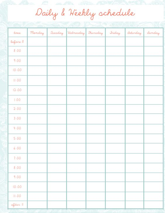 Creative Balorina  com Lorina Daiana u2026 Pinteresu2026 - hourly schedule template