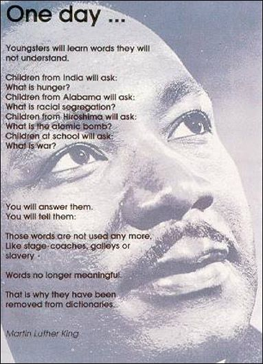 www.leedspostcards.co.uk Martin Luther King quote postcard produced by leeds postcards. Called one day
