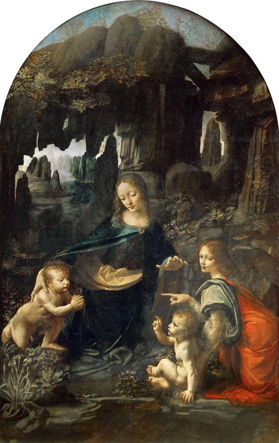 La Virgen de las Rocas de Leonardo da Vinci: Juan, María, el niño Jesús y Uriel