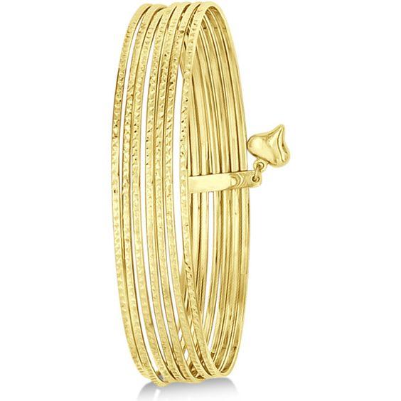 Allurez Diamond-Cut Slip-On Seven Bangle Bracelets 14k Yellow Gold (€640) ❤ liked on Polyvore featuring jewelry, bracelets, bangle bracelet, gold diamond bangle, gold bangle bracelet, gold charms and gold bracelet bangle