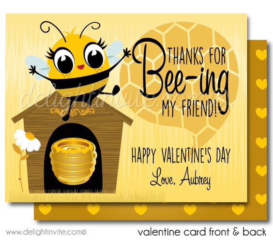 Bumble Bee Valentine Cards for Kids Unique Valentine cards for – Bee Valentine Cards