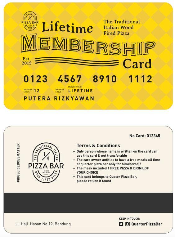 desain lifetime membership card 1\/4 Pizza Bar Pinterest - membership card samples