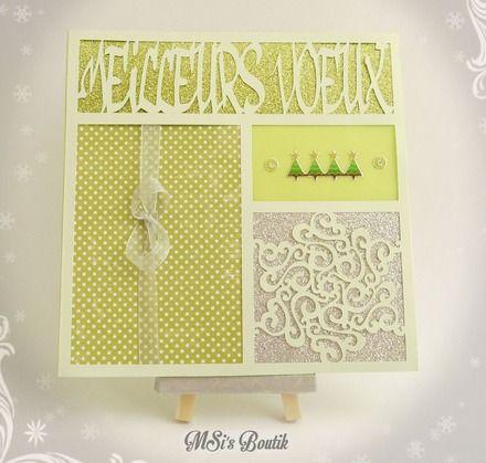 """Carte de Voeux texte """"Meilleurs Voeux"""" pour fêtes de fin d'année tons vert et argent. Découpage à la silhouette portrait. Handmade card by MSi's Boutik"""
