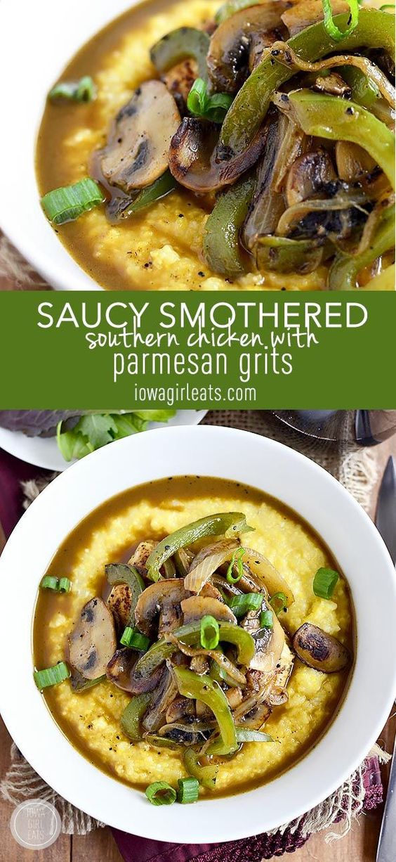 Saucy Smothered Southern Chicken with Parmesan Grits is a quick and ...