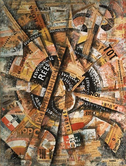 Interventionist Demonstration (1914), Carlo Carrà. A swirling vortex of propaganda. A beautiful example of Italian Futurism.