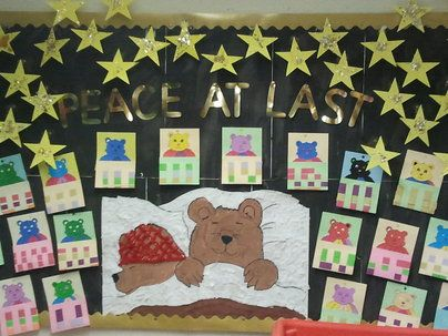 Peace at Last Display, classroom display, class display, Story, bears, sleeping, peace, reading, book, Early Years (EYFS), KS1 & KS2 Primary Resources