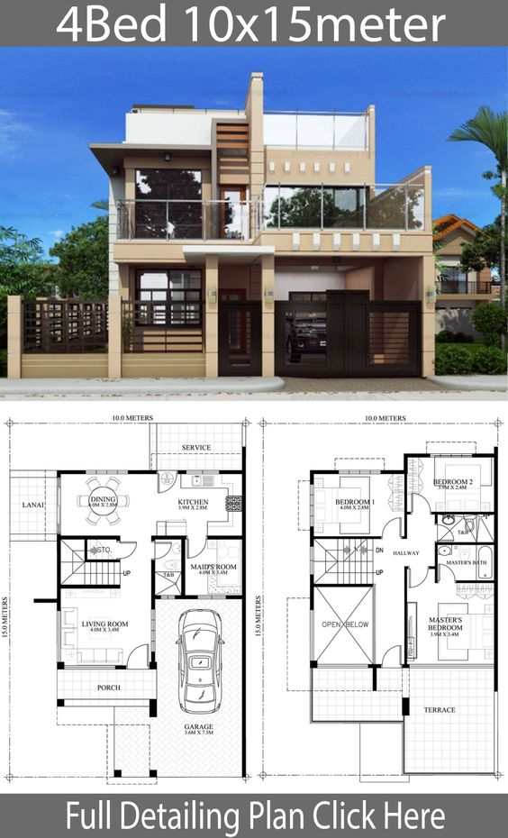 Home Design Plan 10x15m With 4 Bedrooms Home Design With Plansearch Model House Plan House Design Pictures Modern House Plans