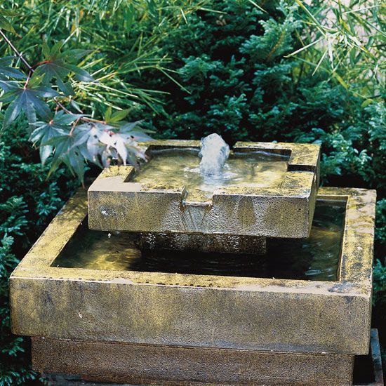 Outdoor fountain ideas beautiful the two and pedestal for Simple water features for backyard