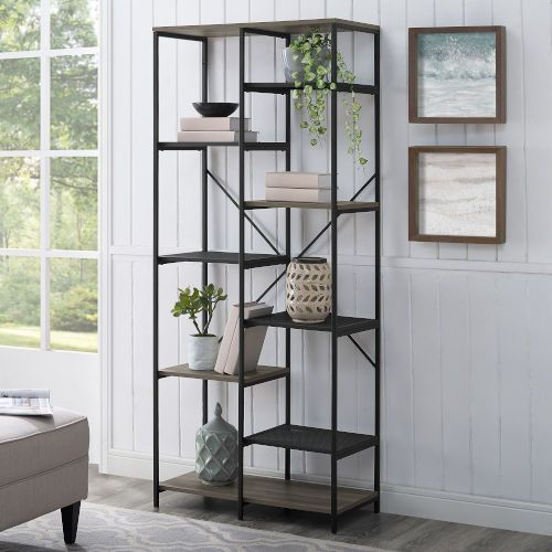 Walker Edison Furniture Co Bs68strgw Grey Bookcase Dark Walnut