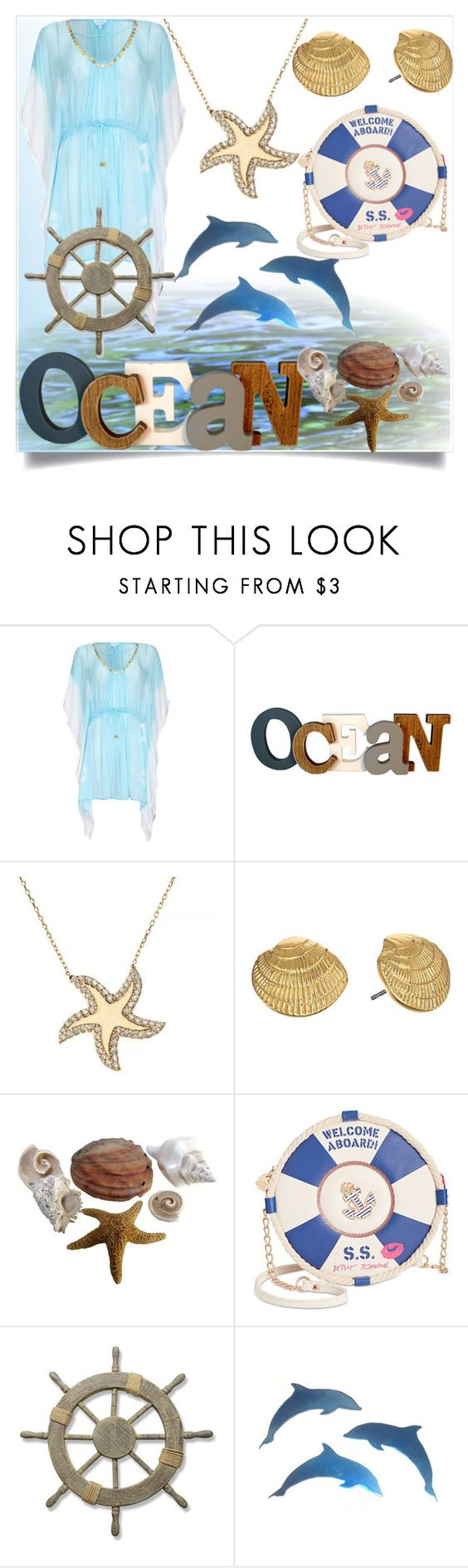 """""""Mystery Ocean"""" by veronika-andrianova ❤ liked on Polyvore featuring Ghost, Talia Naomi, Kate Spade, Betsey Johnson and Adeco"""