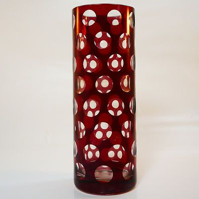 Glas Vase • wohl Karl Rotter , Lübeck • gebeizt • Linsenschliff