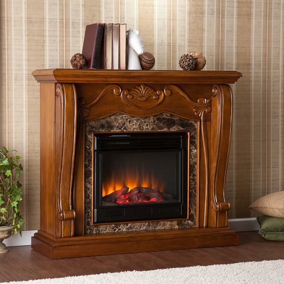 Shop Boston Loft Furnishings 45.25-in W 4,700-BTU Walnut Wood Fan-Forced Electric Fireplace with Thermostat and Remote Control at Lowes.com