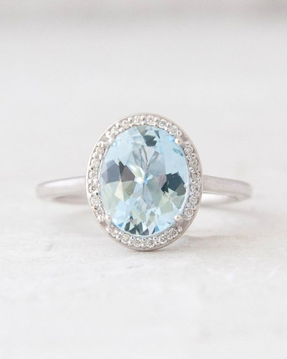 Large Oval Aquamarine and Diamond Halo Diamond Halo Anniversary Ring Engagement Ring 14K White Yellow Rose Gold Jewelry