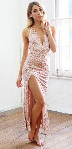 Beige Nude Glitter Deep V Neck Halter Open Back Split Hem Maxi Evening Dress