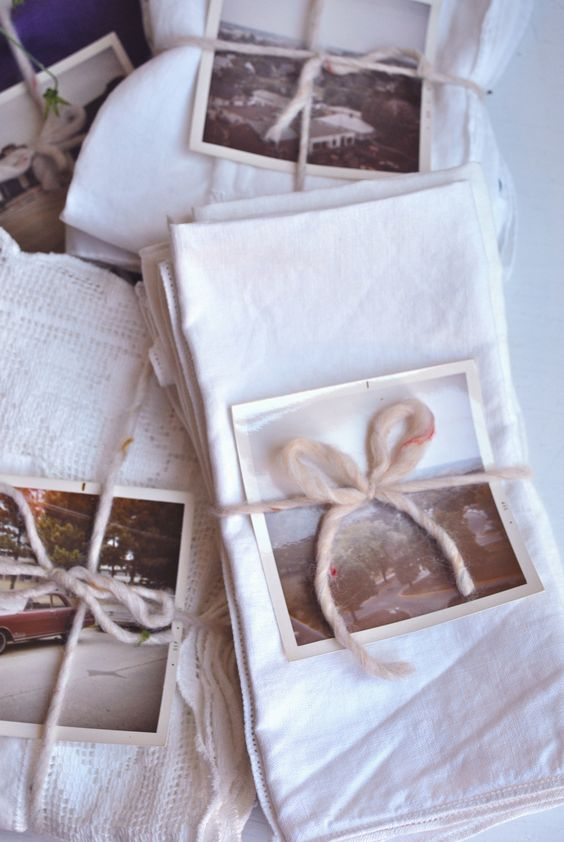 vintage hankie bundles, tied with a picture