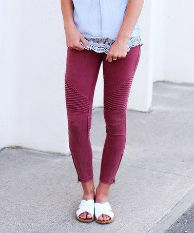 Another great find on #zulily! Burgundy Texture-Front Zip-Leg Leggings #zulilyfinds