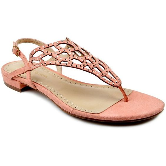 Adrienne Vittadini Molli Suede Thong Sandals ($24) ❤ liked on Polyvore featuring shoes, sandals, coral, sparkly shoes, toe post sandals, braided strap sandals, thong sandals and strappy thong sandals