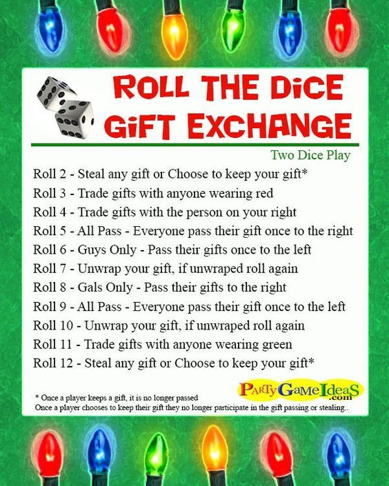 Christmas Gift Exchange Dice Game Printable.Roll The Dice Gift Exchange Games Christmas Ideas