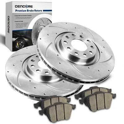 Front and Rear Discs Brake Rotors and Ceramic Pads For Audi A4 2007-2008 Slotted