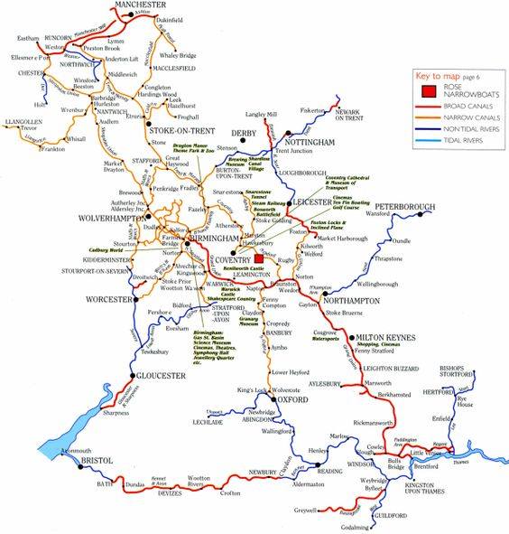 A map of English canals. You can rent canal boats for a meandering vacation through the canals.